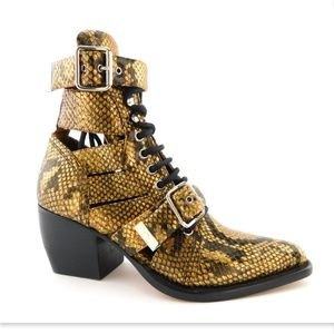 New CHLOE Gold Python Cage Buckle Booties 36.5